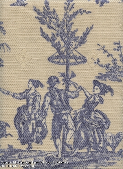 Blue and Cream May Day Toile de Jouy