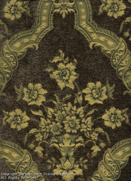 Floral Medallion Gold & Chocolate Chenille