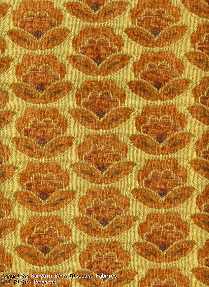 Small Floral in Yellow Chenille