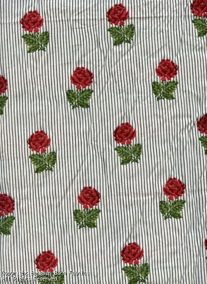 Embroidered Jacquard Red Antique Roses