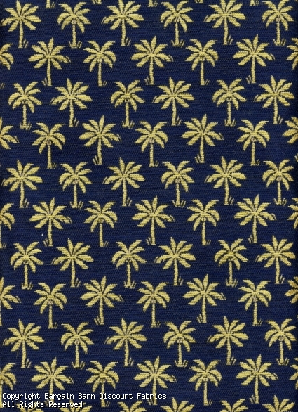 Gold and Navy Blue Palm Tree Fabric