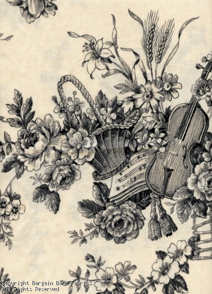"Music Instruments Toile de Jouy ""Olivia"" by Concord Fabrics"