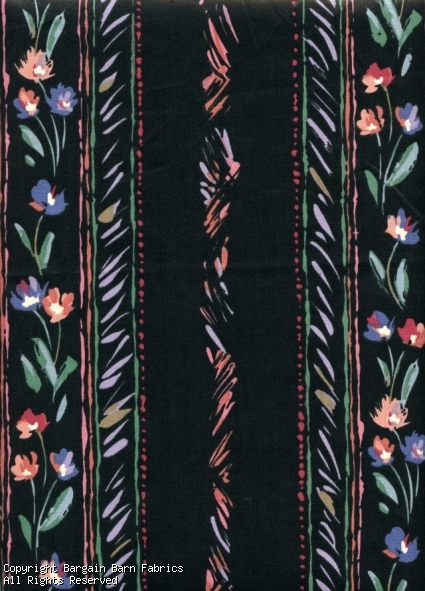 Black Cotton Contemporary Floral Stripe