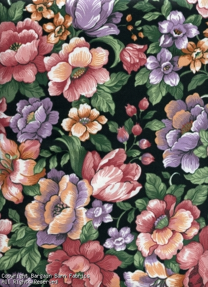 Floral on a Black background by Mill Creek Fabrics