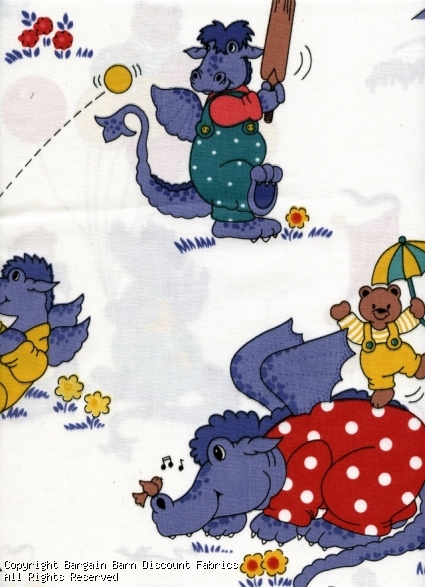Childrens Novelty Print-Purple Dragons