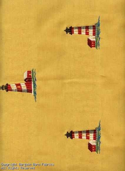 Embroidered Light Houses on Yellow background
