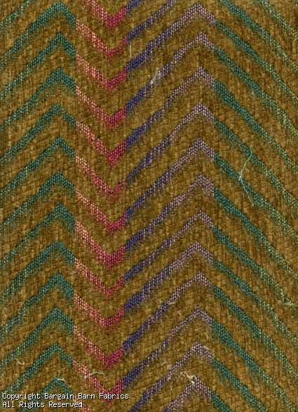 Multicolored Chevron Tapestry wtih Brown Chenille Background