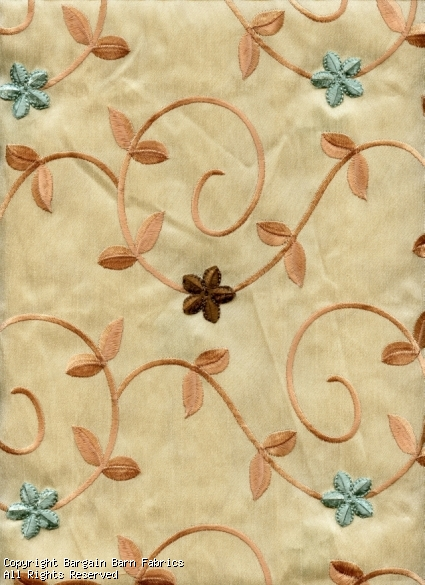 Embroidered Faux Silk Satin with Raised Chenille Flowers