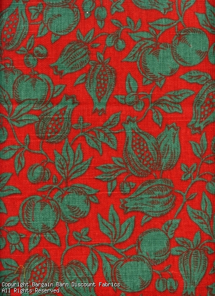 Fruit Toile de Jouy -Red and Forest Green
