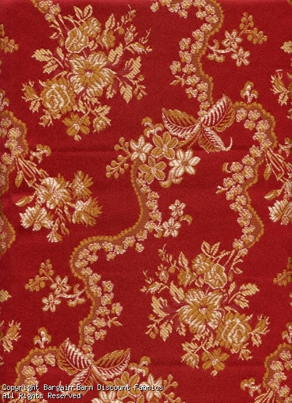 Jacquard Floral in Burgandy Red and Gold