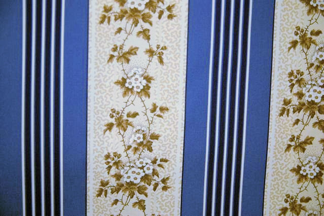 Schumacher Blue and Brown Floral Stripe