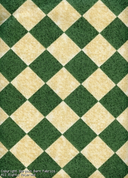 Green and Tan Argyle Check