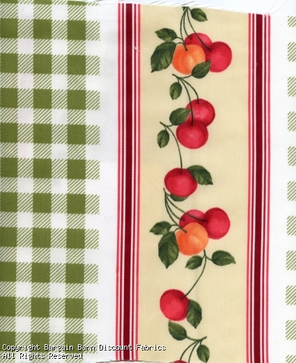 Small Cherry Bunches with Plaid Stripe