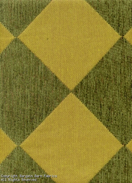 Green Tone on Tone Harlequin Pattern Chenille
