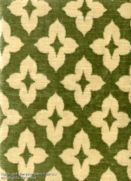 Contemporary Medallion in Sage and Ivory Velvet