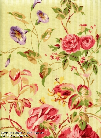 Morning Glory and Rose Floral Screen Print by Braemore Textiles