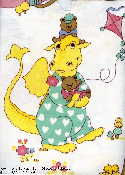 Childrens Novelty Print-Yellow Dragons