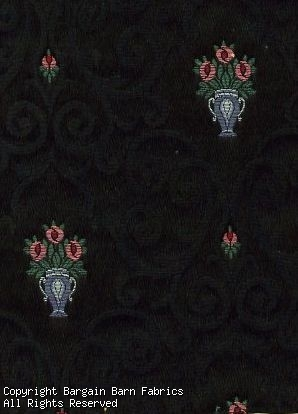 High End Black Jacquard with Silver, Green and Rose Mini Floral