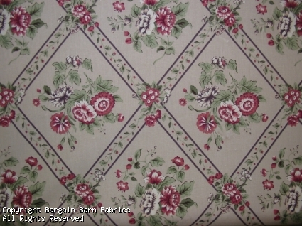 Diamond Floral in Shades of Soft Grey Green and Red