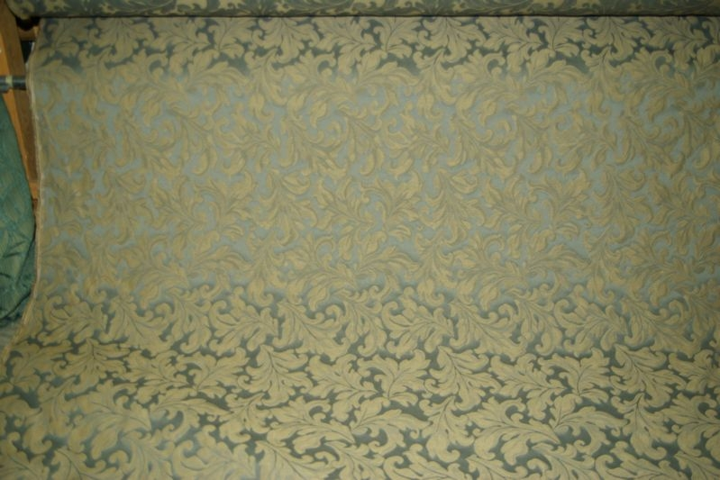 Teal and Taupe Jacquard Leaf Motif
