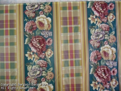 Dupont Teflon Treated Cotton Floral Stripe with Plaid accents