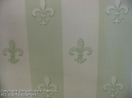 Waverly Mint Green Fleur de Leis Stripe