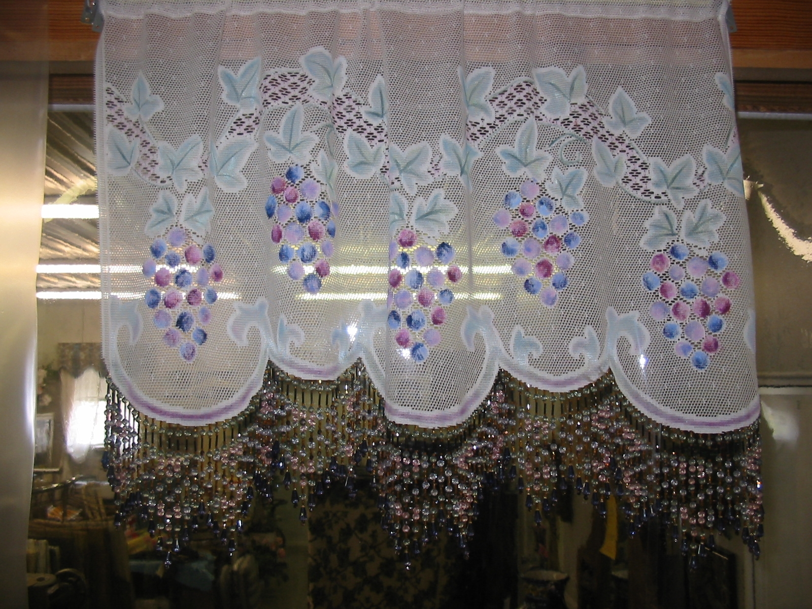 Lace Panel Handpainted Beautiful Tuscan Blue Grape Pattern