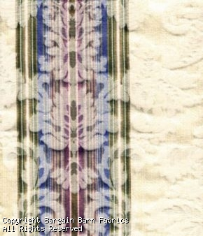 Italian Damask Stripe in Ivory with Blue, Rose, Green and Gold