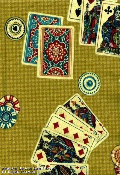All in the Cards Fabric by Village Gold Black Teal, Burgandy,