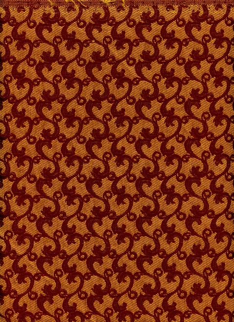 Woven Mini Floral/Leaf Pattern in Burgandy and Gold