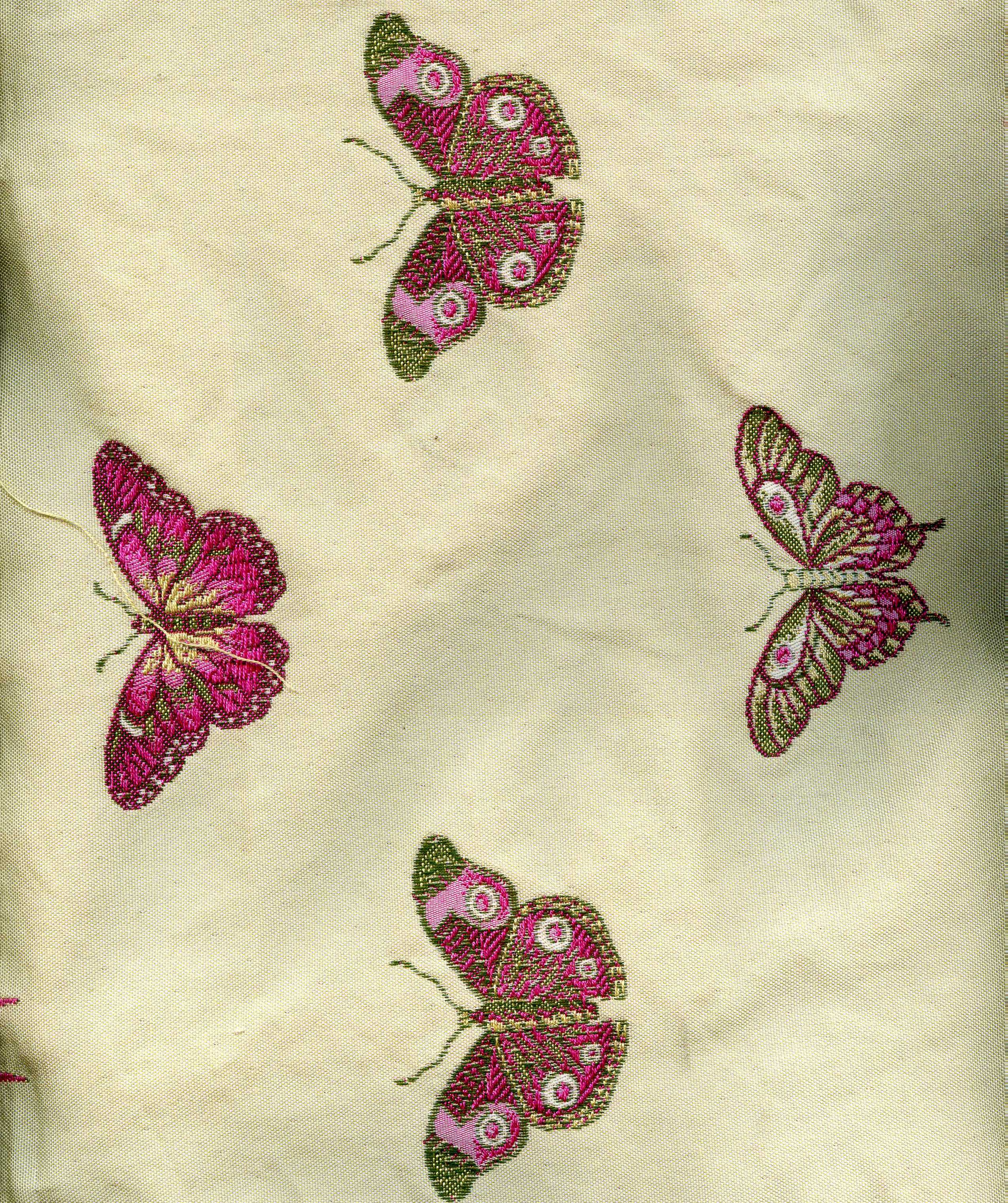 Beautiful Tapestry of Hot Pink and Green Butterflies on a Cream