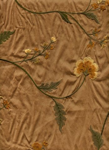 Gold Faux Silk Embroidered Drapery Fabric