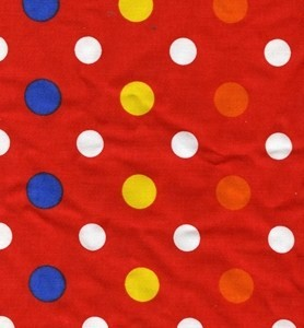 Red with multicolored polka dots