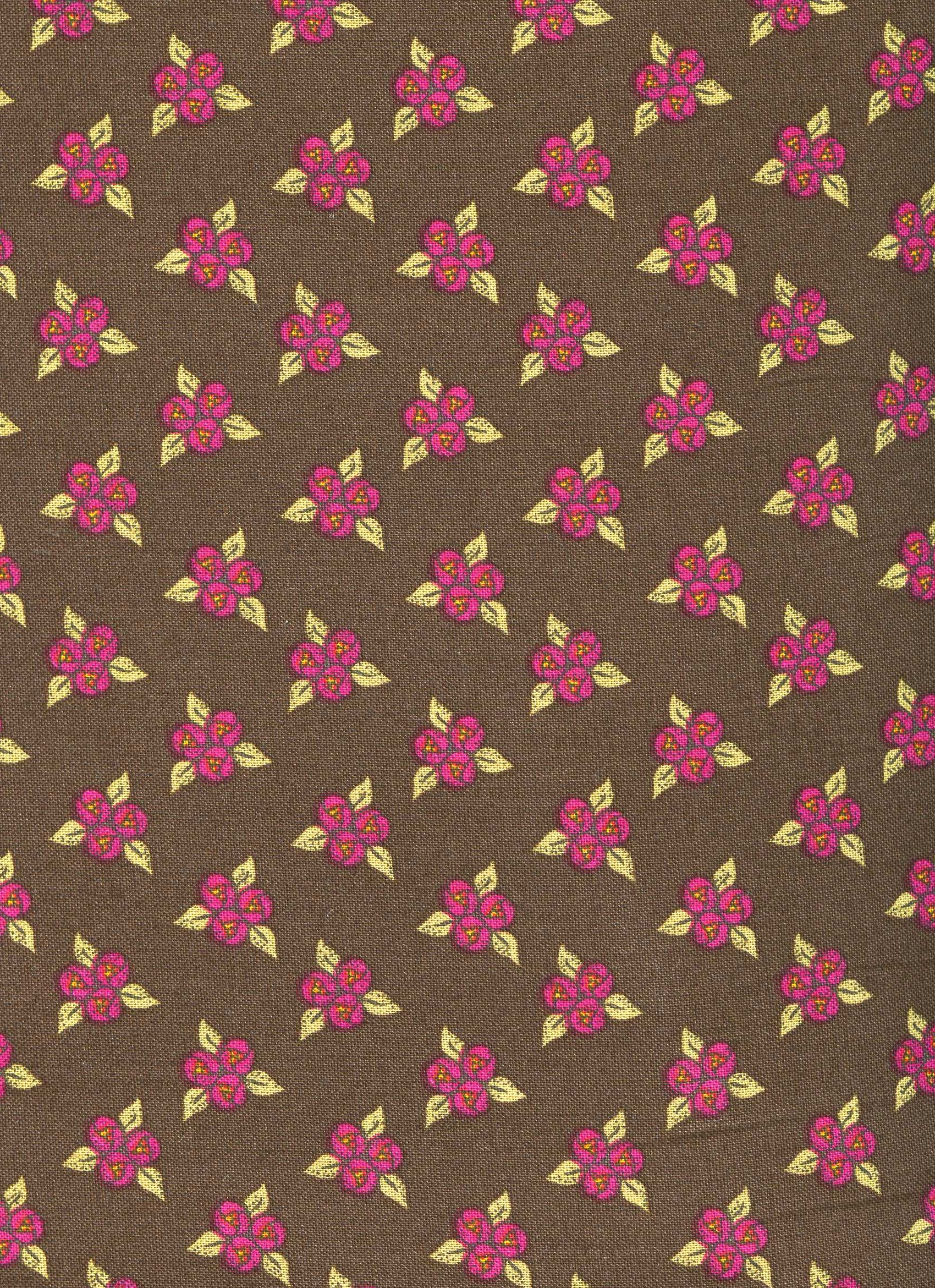 """Gypsy Garden"" Brown with Raspberry Flowers"