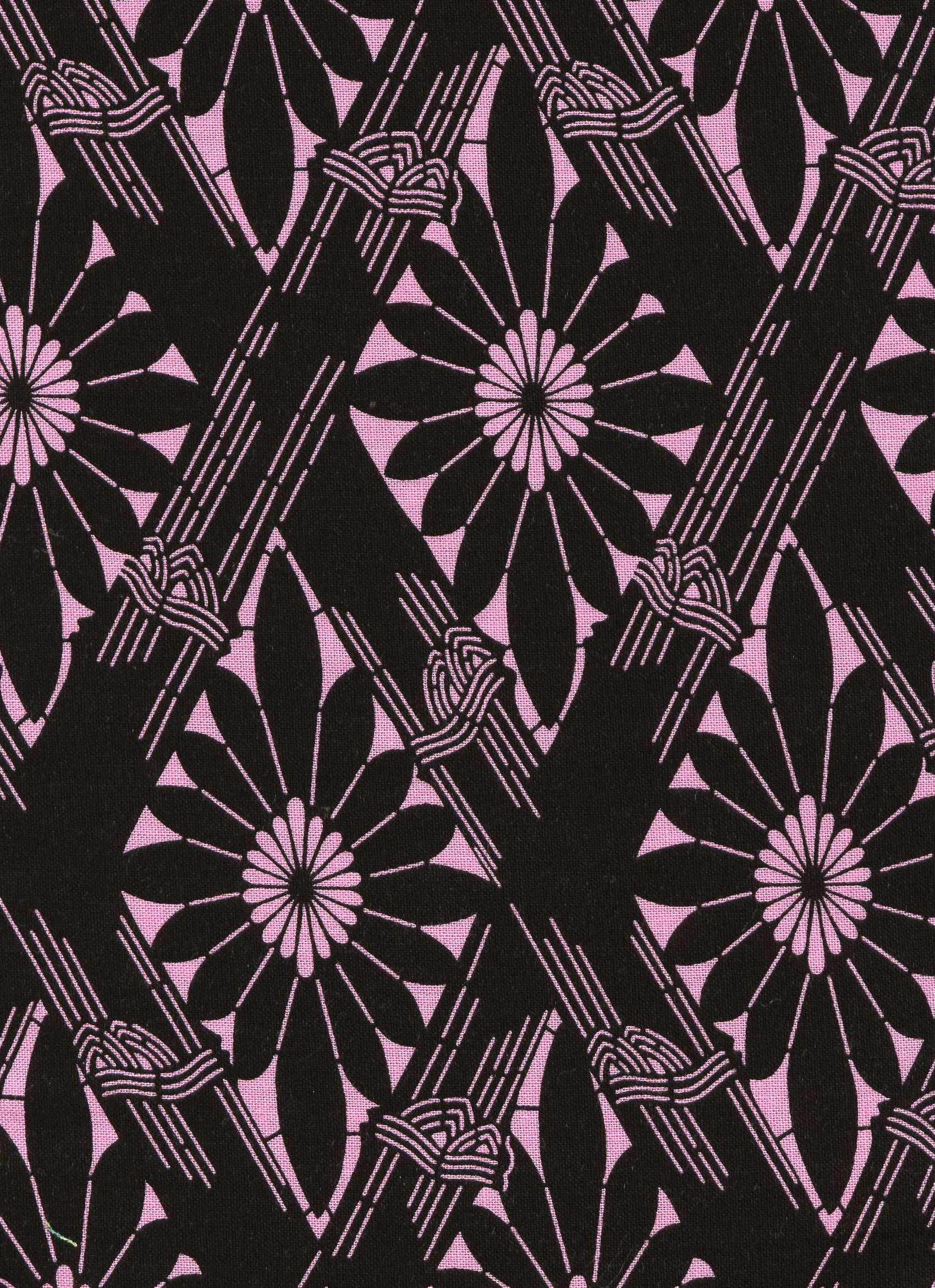 Morning Mist- Pink and Black Daisy Print