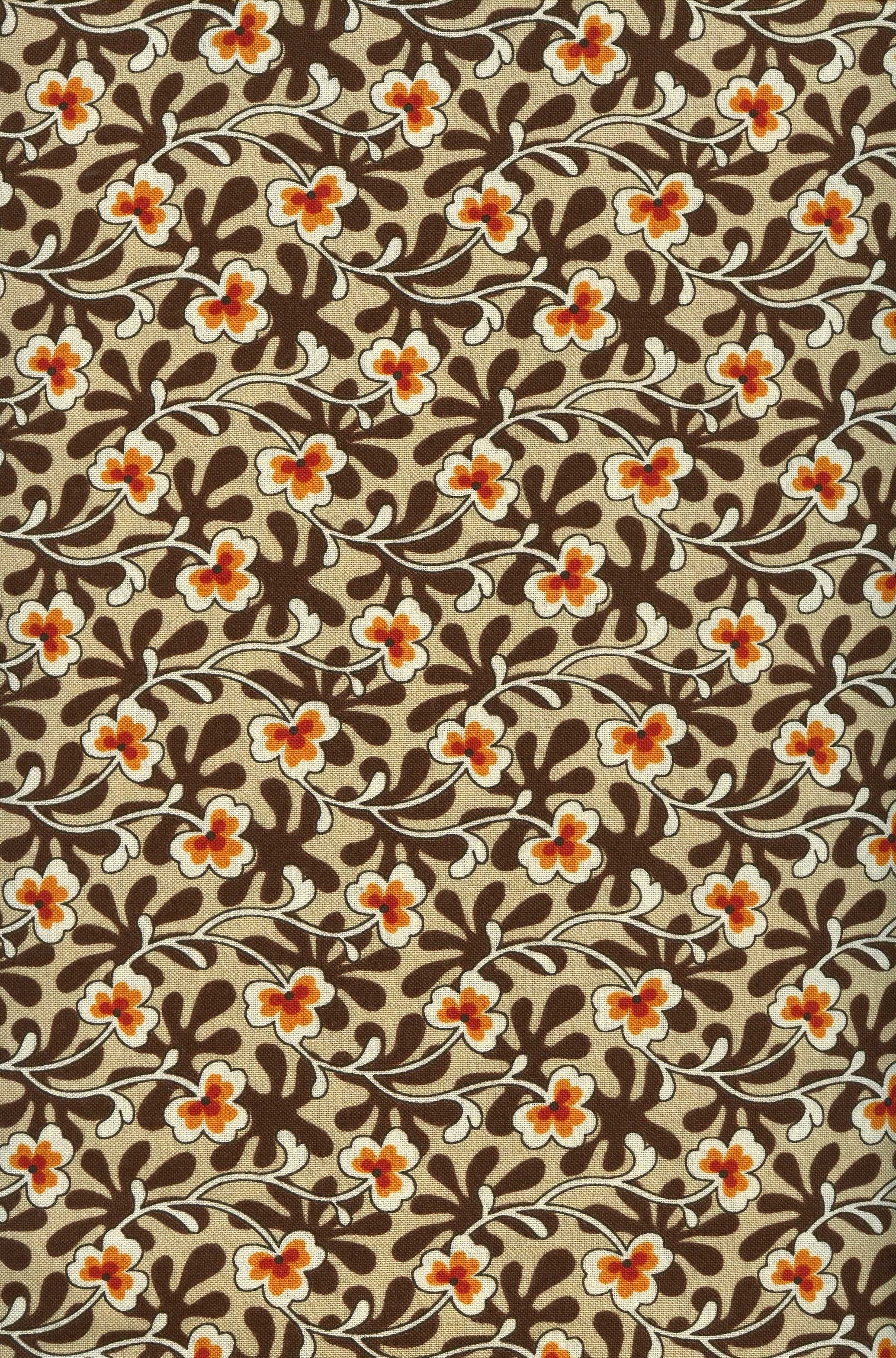 Shelburne Calico Gardens-Tan and Brown with Orange Flowers