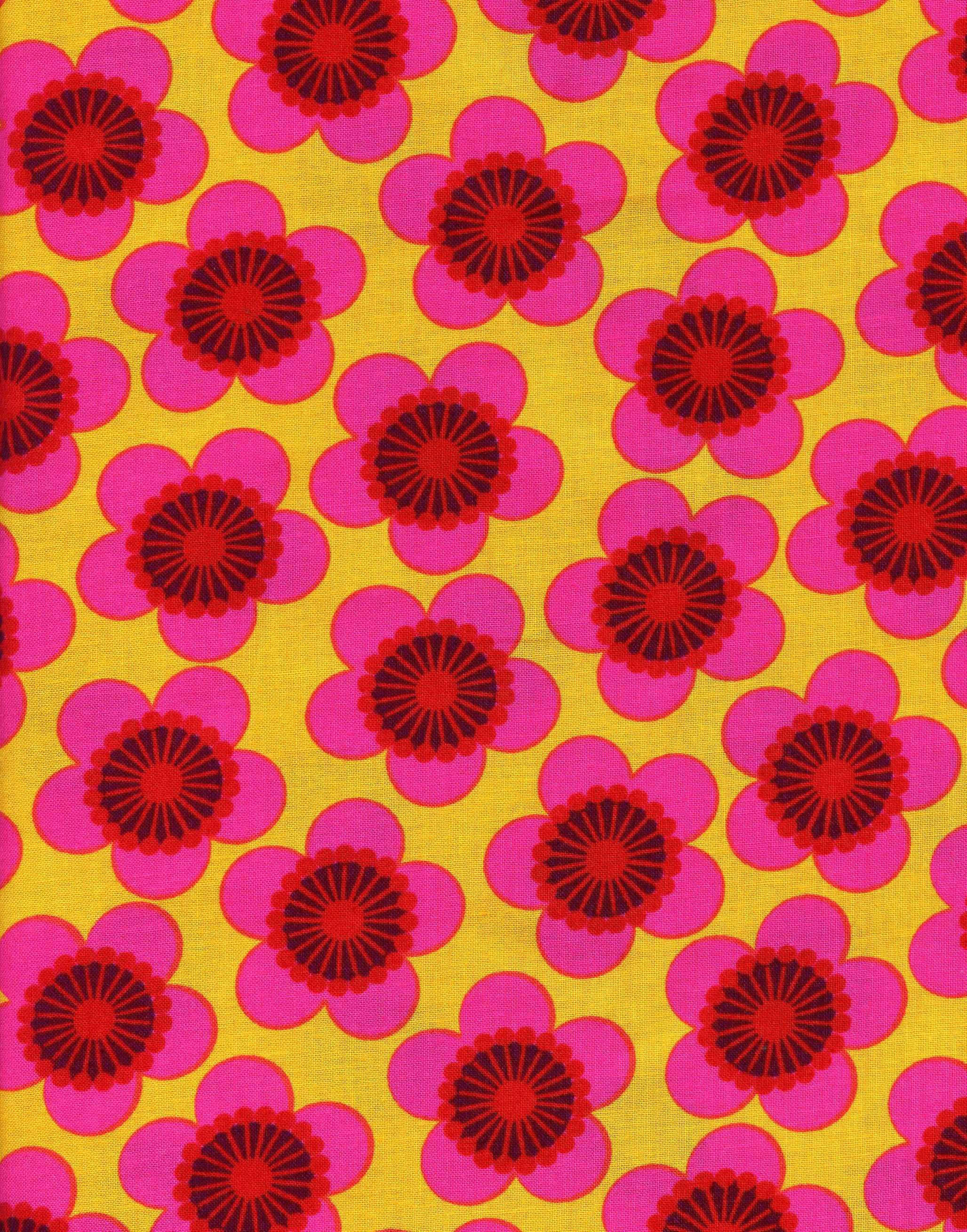 Yellow with Pink Daisy Print