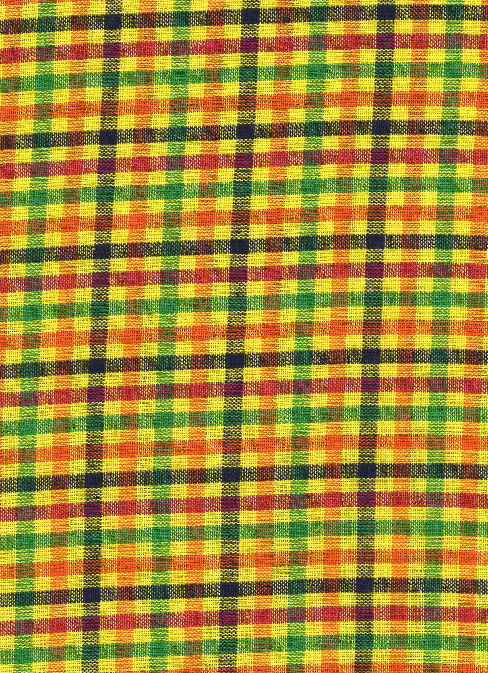 Yellow/Green/Orange and Black Plaid